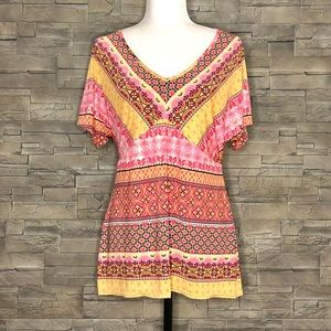 Brianna pink and yellow boho top